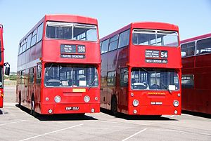 London Transport buses DMS132 (EGP 132J) & DMS1868 (GHM 868N), 2010 North Weald bus rally.jpg