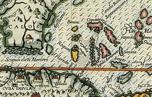 Elbow Cays - Los Roques in a 1594 Spanish map.