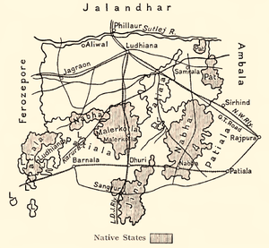 Malerkotla State - 1911 map of Ludhiana District showing several princely states, including Malerkotla
