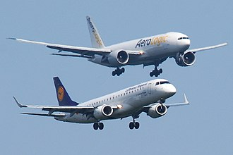 Boeing–Embraer joint venture - An Embraer E-Jet E190 below a Boeing 777F
