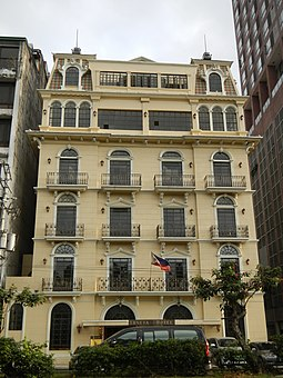 The Luneta Hotel, an example of French Renaissance architecture with Filipino stylized beaux art Luneta Hotel.jpg