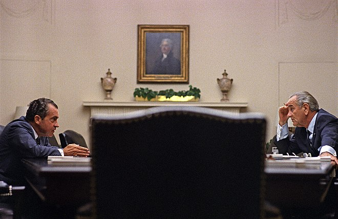 President Johnson meets with Republican candidate Richard Nixon in the White House, July 1968 Lyndon Johnson Richard Nixon 1968.jpg