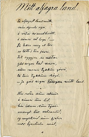 Tú alfagra land mítt - Original manuscript of 1906.