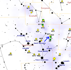 Messier 21 - Map showing the location of M21