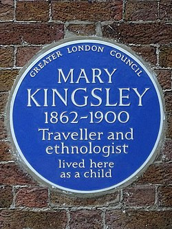 Mary kingsley 1862 1900 traveller and ethnologist lived here as a child