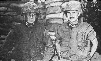 Rathvon M. Tompkins - MG Rathvon M. Tompkins (3rd Marine Division) and David E. Lownds (26th Marines) during Khe Sanh Operation.