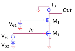 Cascode - Figure 3: MOSFET Cascode using ideal voltage sources for DC gate bias and a DC current source as active load. Since each MOSFET transistor has gate and source connected, this configuration is valid only for discrete 3-terminal components.