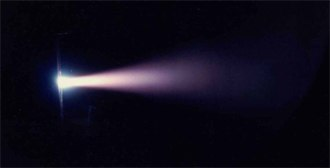 Magnetoplasmadynamic thruster - An MPD thruster during test firing