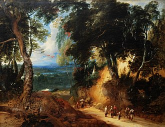 Lodewijk de Vadder - The Sonian Forest with peasants.