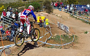 Mountain bike racing - Marc Beaumont of Great Britain riding a downhill race the 2009 UCI Mountain Bike & Trials World Championships held at Mount Stromlo, near Canberra, Australia