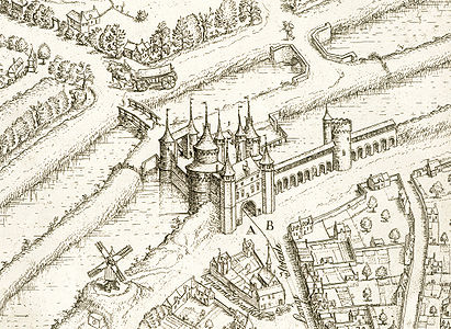 Bruges: the Kruispoort (Holy Cross Gate), engraving from 1562 by Marcus Gerards