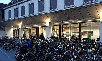 Maastricht University - University library, south entrance at Nieuwenhofstraat
