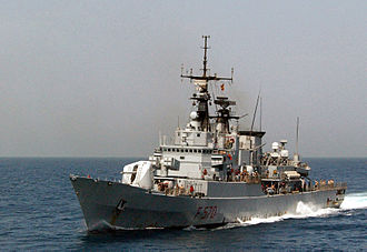 Maestrale-class frigate - Maestrale, underway at high-speed, during Operation Enduring Freedom