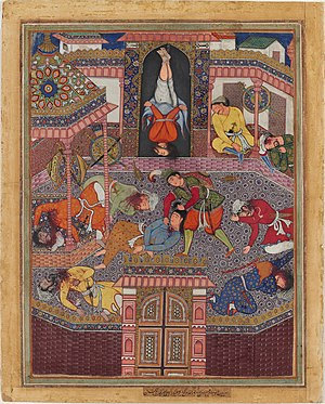 Mir Sayyid Ali - Image: Mahiya frees Zambur, Beheads his sleeping guards, and suspends Gharrad in his stead Hamzanama, Harvard Art Museum, Cambridge