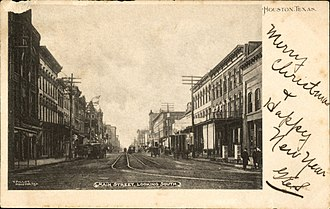 Main Street Market Square Historic District - Image: Main Street looking south Houston Texas (1904)