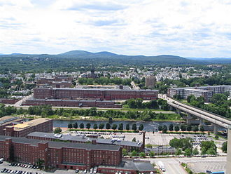 Merrimack Valley - The Amoskeag Mills in West Manchester, New Hampshire, circa 2006.  The massive structure once housed the largest cotton textile manufacturing plant in the world.  Since the late 20th century, it has been rehabilitated for mixed use development.