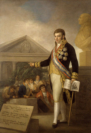 Agustín Esteve - Portrait of Manuel Godoy founding the Instituto Pestalozziano (1805)