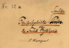Handwritten writing of the cover page of Philosophiske Smuler en Smule eller Philosophies. Nr. 12 a. is written on the top left, and Smuler was misspelled, crossed off, and corrected. It is signed S. Kierkegaard.