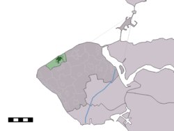 The town centre (dark green) and the statistical district (light green) of Domburg in the municipality of Veere.