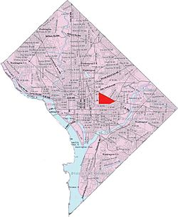 Map of Washington, D.C., with Near Northeast highlighted in red