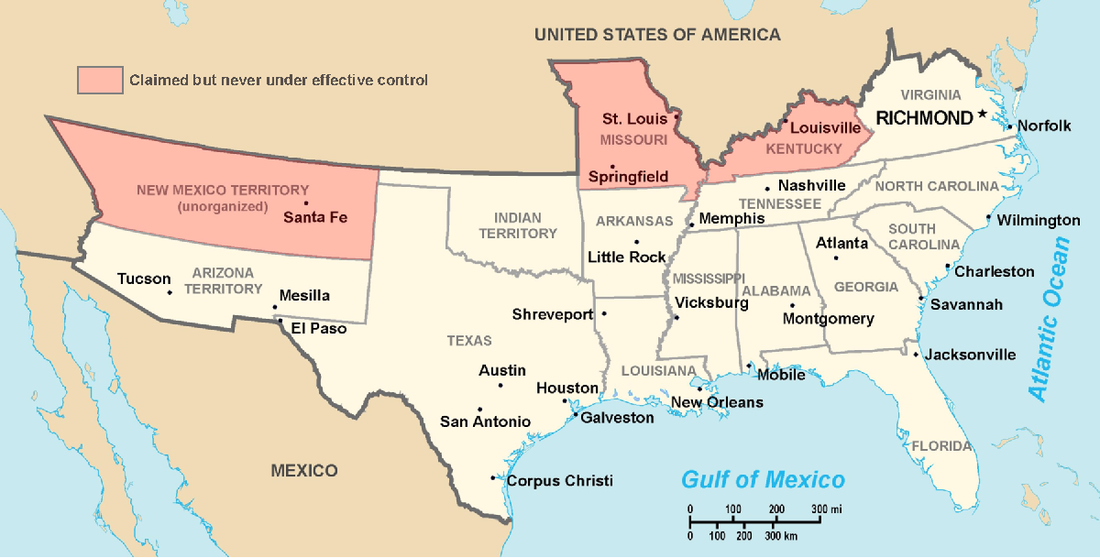 Map of the states and territories claimed by the Confederate States of America Map of CSA 4.png