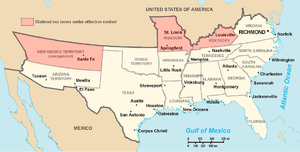 map of the Confederate States of America and its controlled territories.