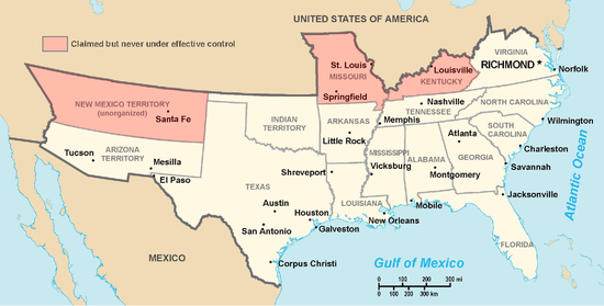 Map of the states and territories claimed by the Confederate States of America.