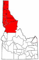 Map of Idaho highlighting the Idaho Panhandle