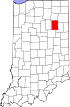State map highlighting Huntington County