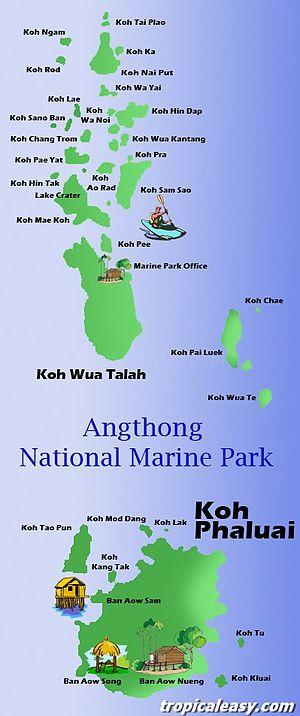 Ko Phaluai - Image: Map of Mu Ko Ang Thong