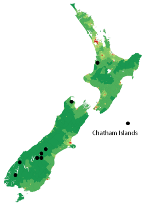 RNZ National - This is a map of community-owned frequencies for RNZ National.