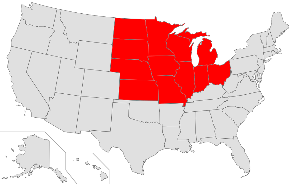 Map of USA highlighting Midwest