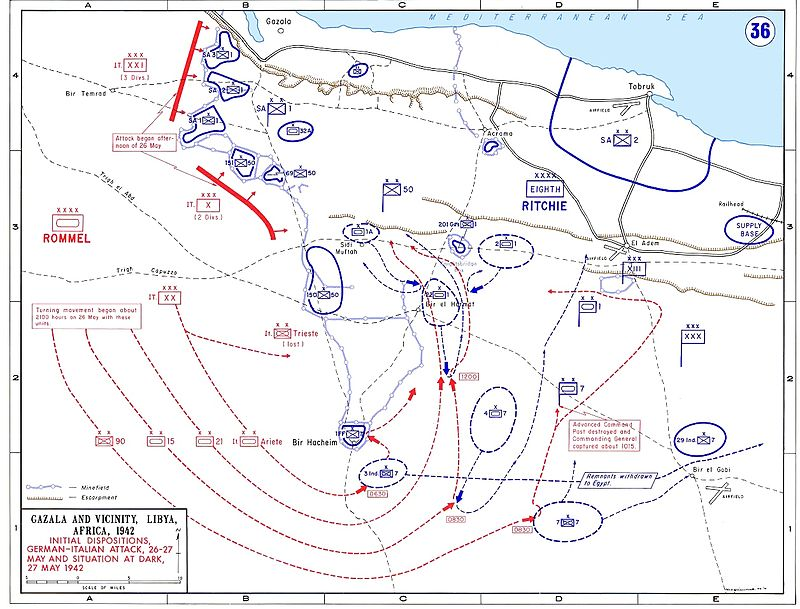 Map of Battle of Gazala