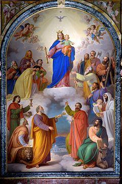 Virgen María Auxiliadora, cuadro pintura de la basílica de Turín en Italia