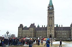 """The """"March of Hearts"""" rally for same-sex marriage equality under the Charter in 2004."""