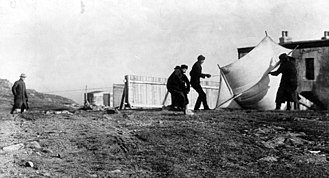"Guglielmo Marconi - Marconi watching associates raising the kite (a ""Levitor"" by B.F.S. Baden-Powell) used to lift the antenna at St. John's, Newfoundland, December 1901"