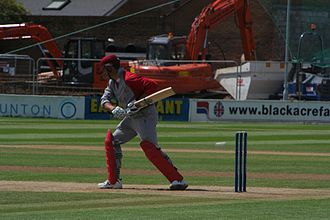 Batting (cricket) - The leave. Note the batsman's head focussed on where the ball had bounced. The bat and hands are held well out of the way of the ball.