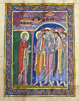 St. Albans Psalter - Mary Magdalene announces the Risen Christ