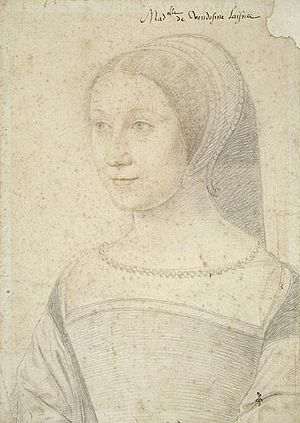Mary of Bourbon - Mary as drawn by Jean Clouet in 1534. Later during the same year, this sketch was sent to the Scottish court for James V to see.