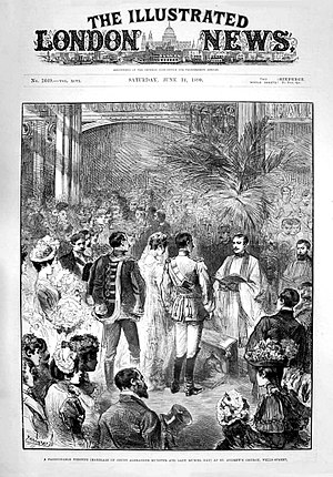 Alexander Münster - Marriage of Count Alexander Munster and Lady Muriel Hay, St Andrews, Wells Street, Illustrated London News, 1890.