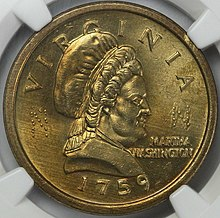 The obverse of a coin depicting a woman dressed in eighteenth-century clothing