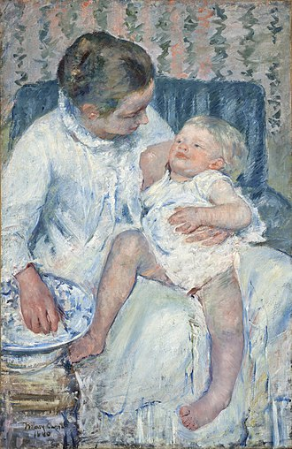 Gardner (Cassatt) Held by His Mother - Image: Mary Cassatt Mother About to Wash Her Sleepy Child Google Art Project