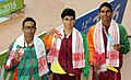 Matthew Abeysinghe (SRI LANKA) won Gold Medal, KT Cherantha De Silva (SRI LANKA) won Silver Medal and Md Mahfizur Rahman (BANGLADESH) won Bronze Medal in Men's 100m Freestyle Swimming, at the 12th South Asian Games-2016.jpg