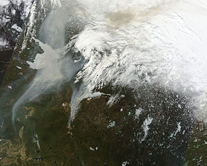 Alberta - Satellite image of wildfires in Alberta
