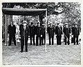 Mayor John F. Collins and members of the Boston Fire Department listen as an unidentified firefighter speaks (13561793333).jpg
