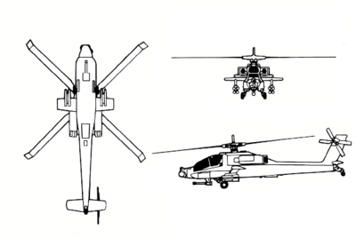 Boeing AH 64 Apache on 4 rotor helicopter