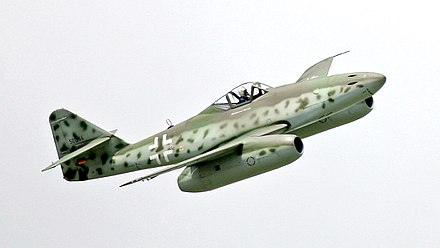 Me 262 (A-1c) replica of (A1-a), Berlin air show, 2006. Me 262 flight show at ILA 2006.jpg