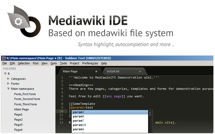Mediawiki IDE based on mediawikifs and SublimeText
