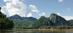 Mekong - A view of the Mekong River at Luang Prabang in Laos