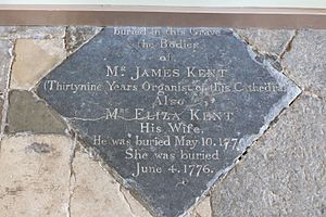 James Kent (composer) - Memorial in the floor of the north transept in Winchester Cathedral